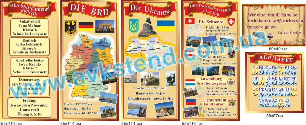 німецька мова, немецкий язык, стенды для школы,  стенди для школи