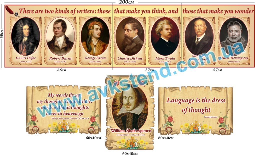 Стенди ля кабінету англійської мови, стенды для кабинета английского языка, писатели, шекспир портрет