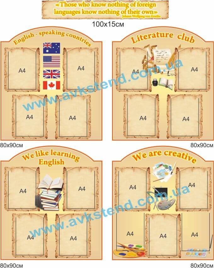 Стенди для кабінету англійської мови, кабінет англійської мови, стенди для шкільних кабінетів, Стенды для кабинета английского языка, кабинет английского языка, стенды для школьных кабинетов
