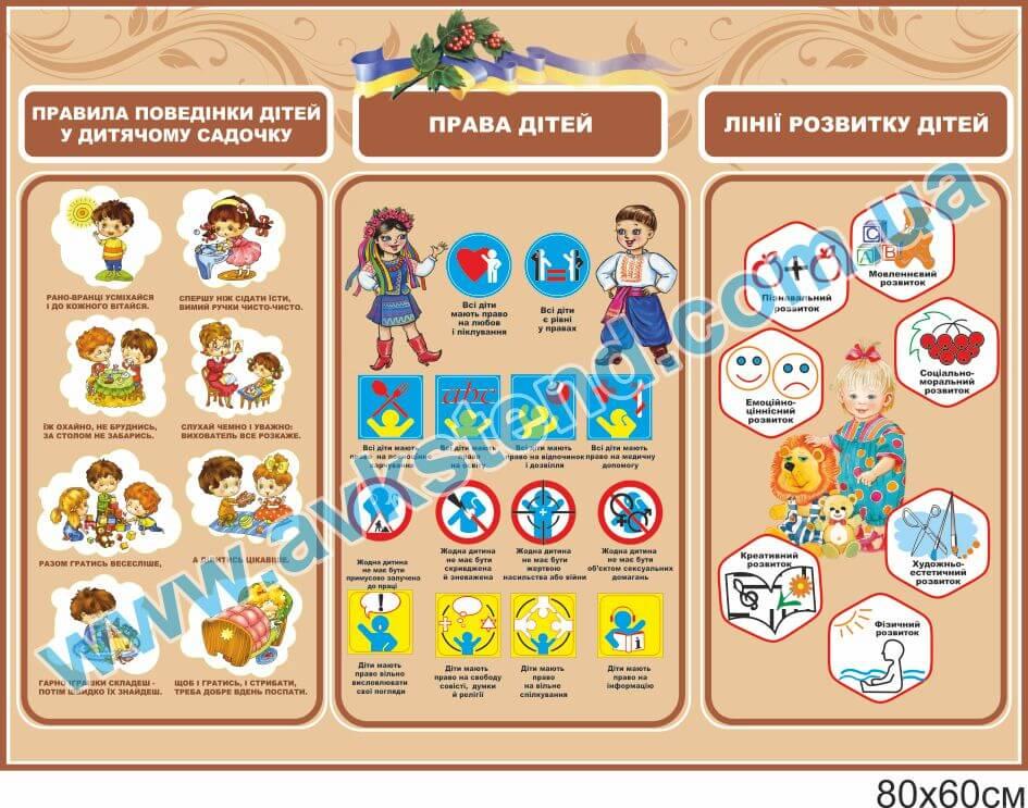 стенд права дитини, стенд лінії розвитку, стенд правила поведінки, стенд права ребенка, стенд лыния розвития детей, правила поведения детей