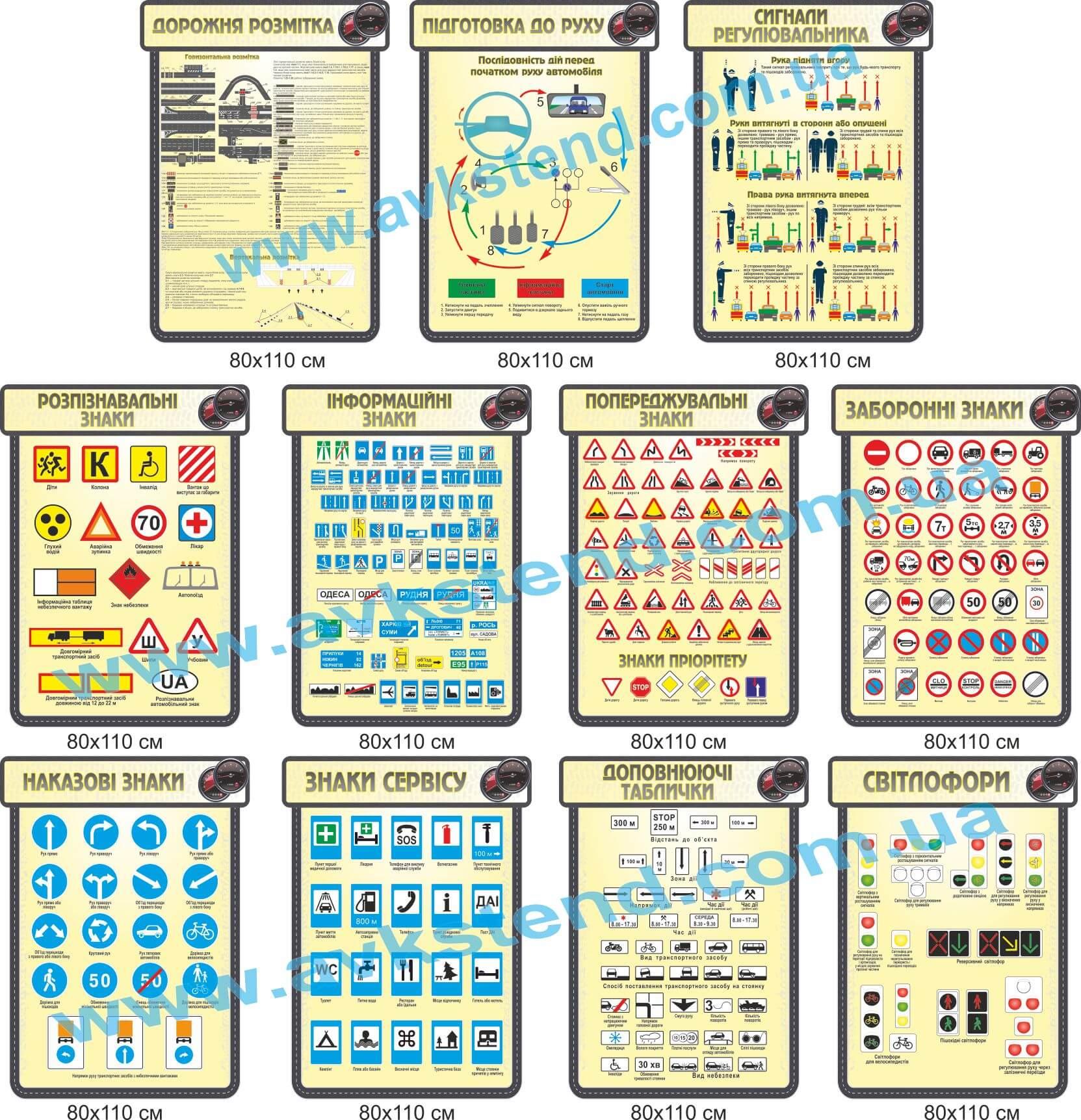 Комплект стендів для автошколи, Комплект стендов для автошколы, Дорожная разметка, Подготовка к движению, Сигналы регулировщика, Отличительные знаки, Информационные знаки, Предупреждающие знаки, запрещающие знаки, Предписывающие знаки, Знаки сервиса, Дополняющие таблички, Светофоры, Дорожня розмітка, Підготовка до руху, Сигнали регулювальника, Розпізнавальні знаки, Інформаційні знаки, Попереджувальні знаки, Заборонні знаки, Наказові знаки, Знаки сервісу, Доповнюючі таблички, Світлофори,