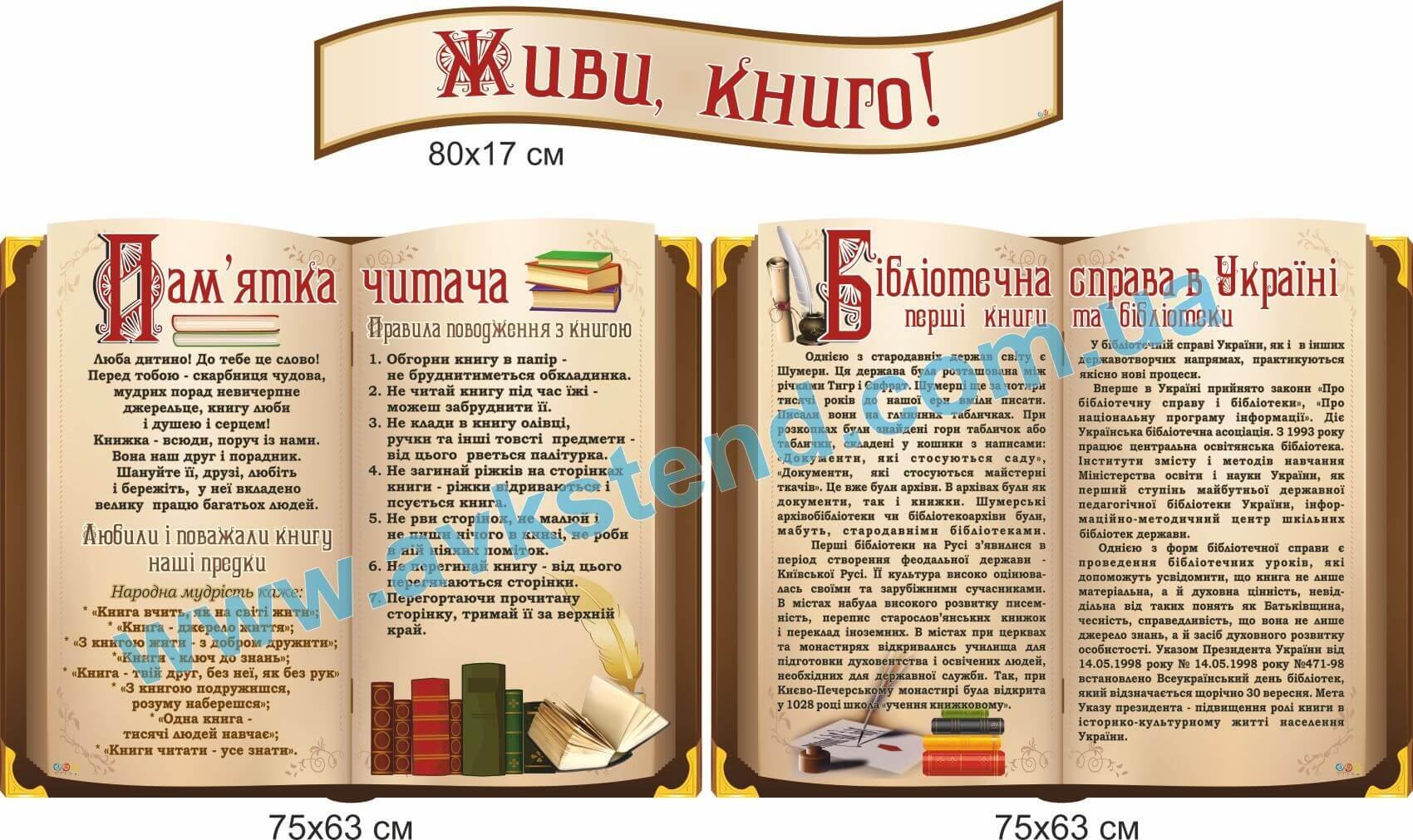 Комплект стендів для бібліотеки (2060010) стенди шпалери для.