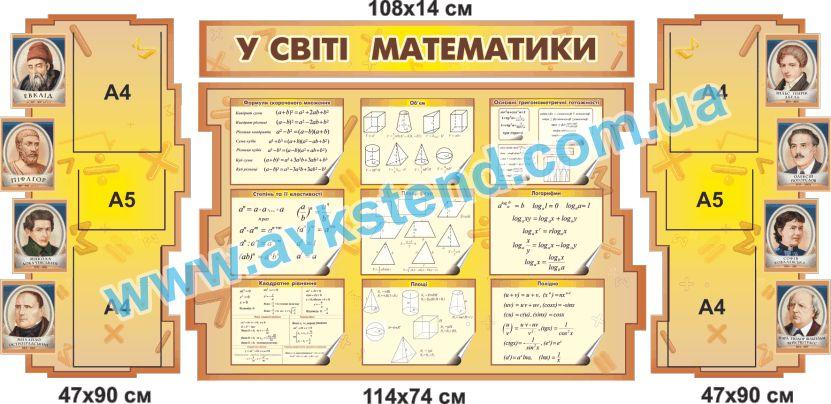 Стенд 2040903, математика, у світі математики, в мире математики, формули, стенди математика