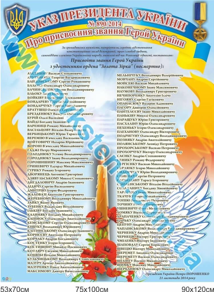 стенд небесна сотня, стенд наказ президента України про надання звання Герой України, стенд Герої України