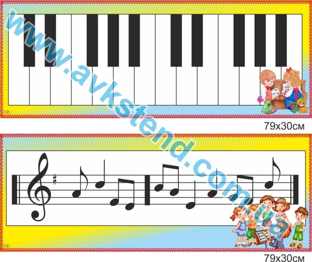 стенди ДНЗ, стенд музичного керівника, стенд ноти, стенд піаніно